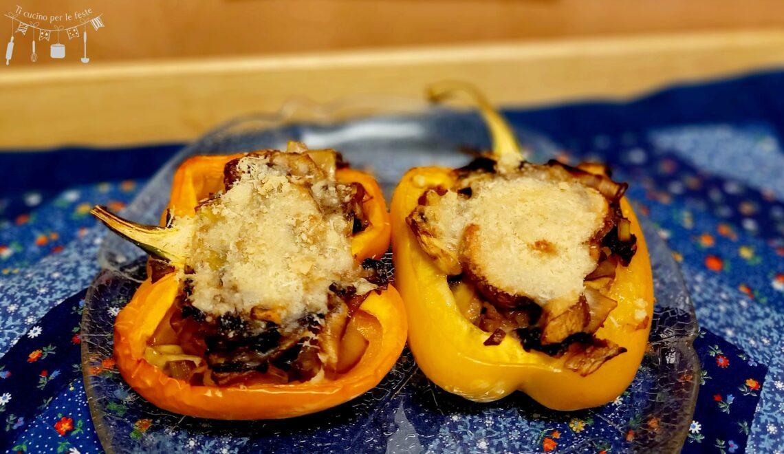 Peperoni ripieni con cicorino rosso e funghi